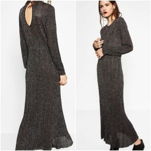 ZARA WOMAN SHIMMER THREAD DRESS sz SM